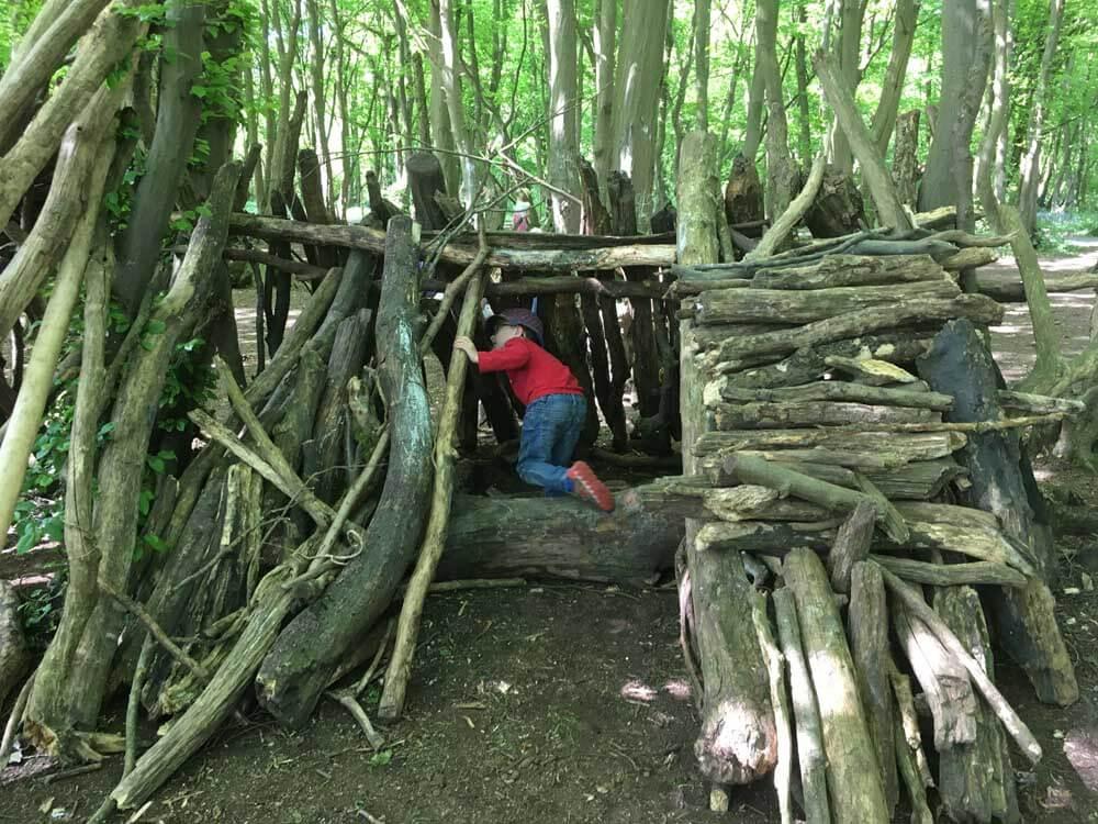 child exploring den at Heartwood Forest