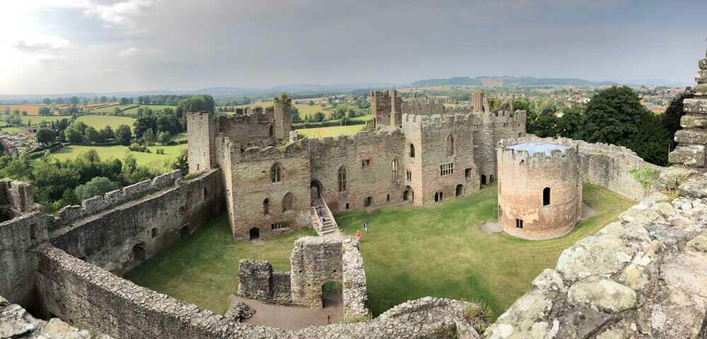 View from top of Ludlow castle in Shropshire