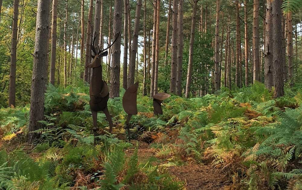 Metal stag sculpture at Broxbourne Sculpture Trail