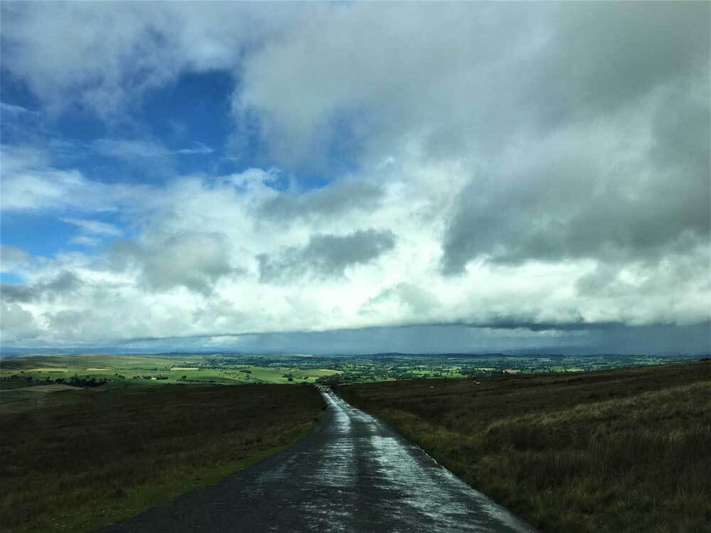 Wet road Yorkshire Dales