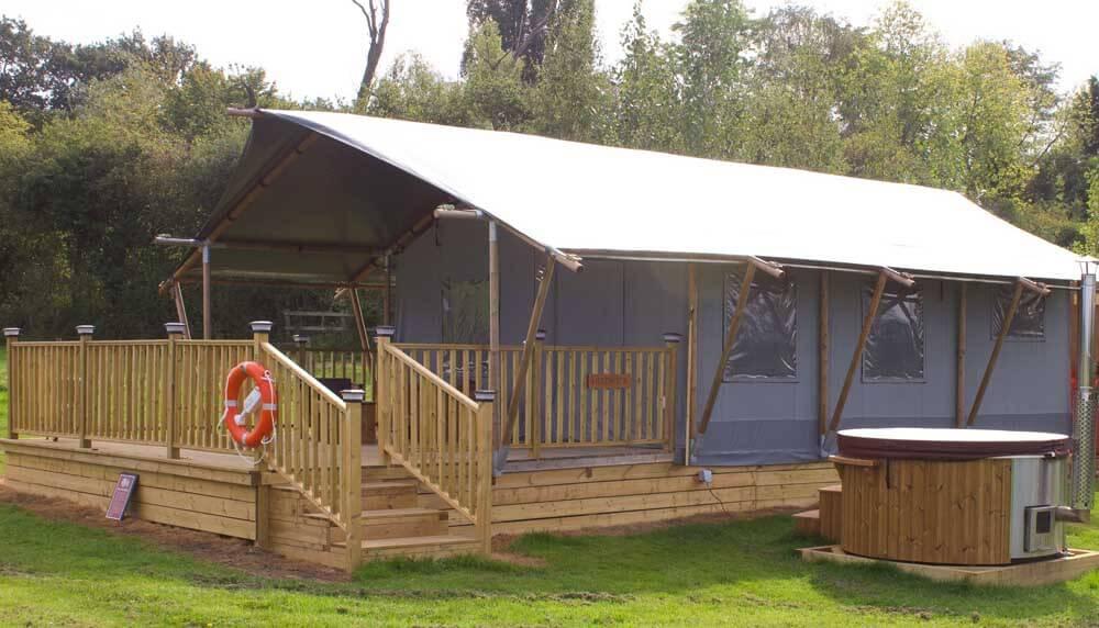 Glamping safari tent in Hertfordshire at Foxholes Farm