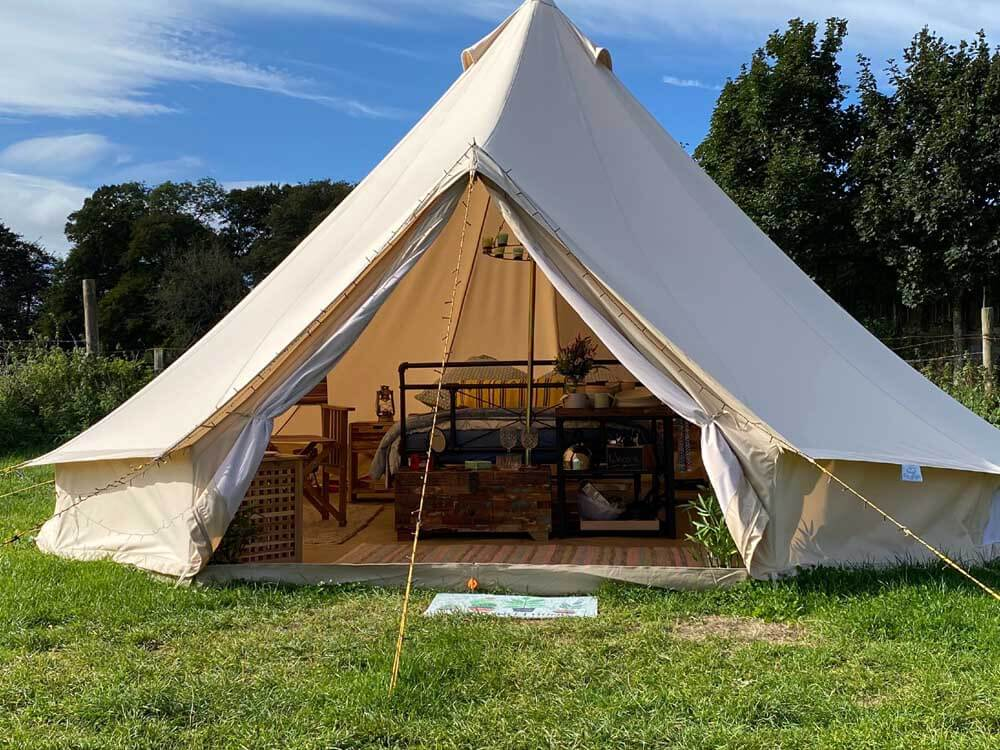 Bell tent glamping in Hertfordshire at Hill Farm