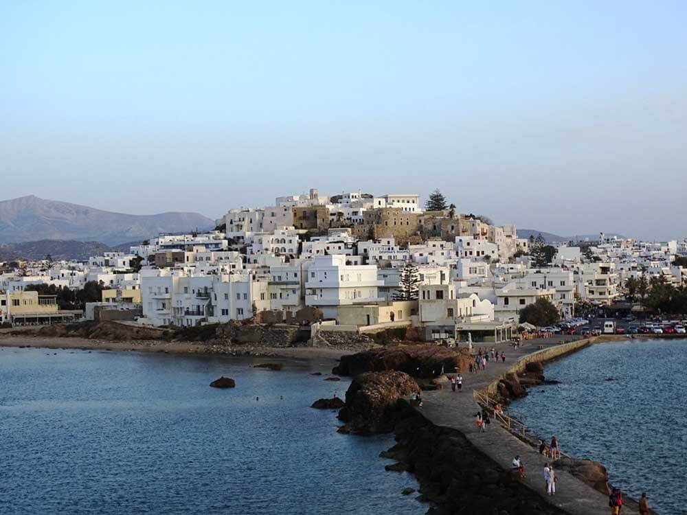 whitewashed houses of Naxos town, one of the best places in Greece for families