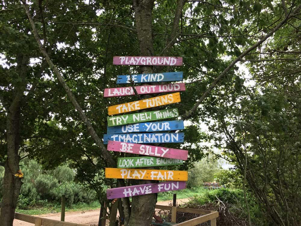 colourful signposts in farm woodland