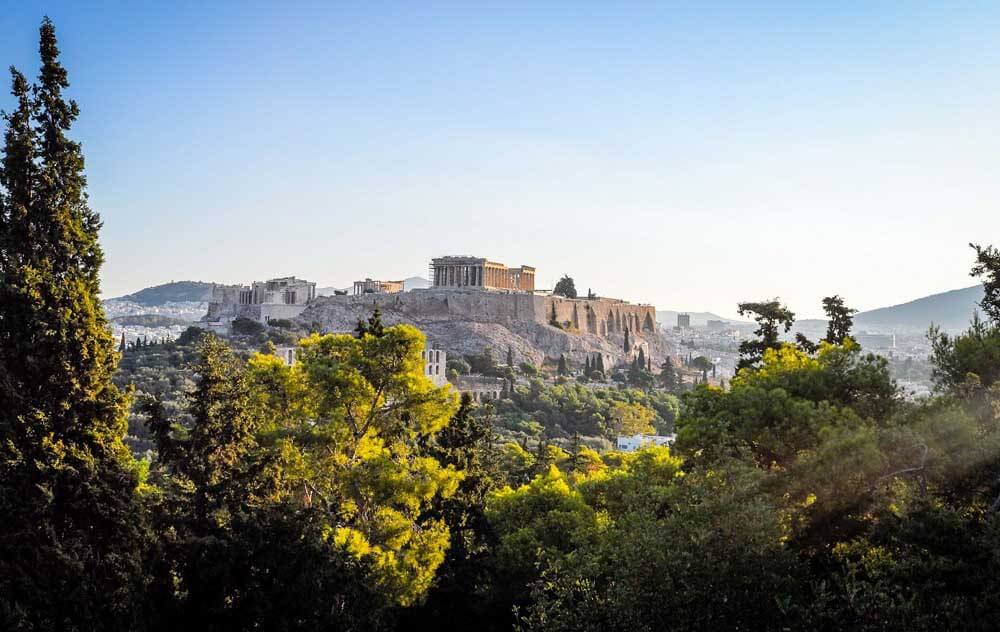 view towards the Acropolis in Athens, Greece