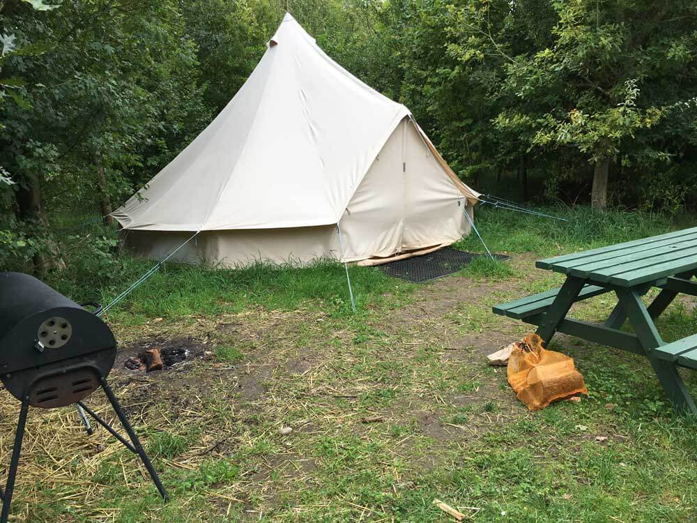 Bell tent Hertfordshire glamping at Church Farm Ardeley