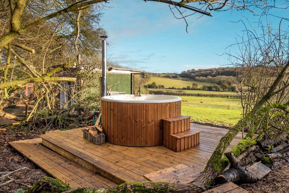 Outdoor hot tub in hertfordshire