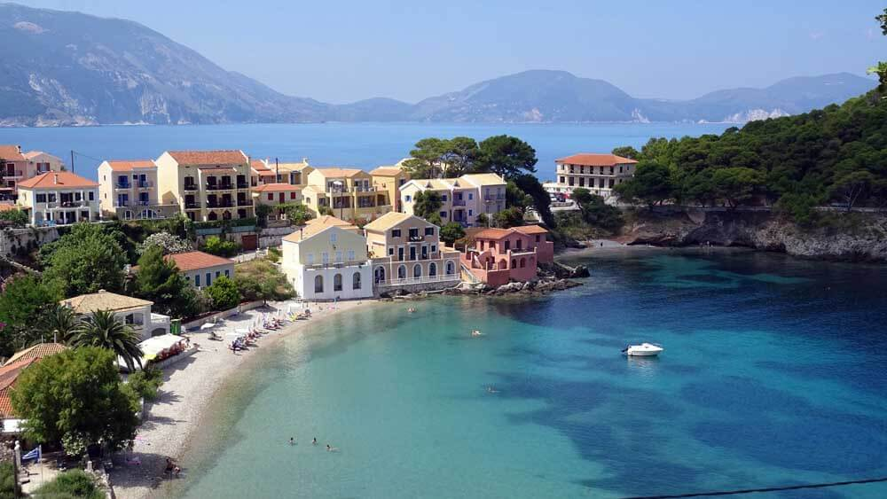 Colourful harbour in Kefalonia