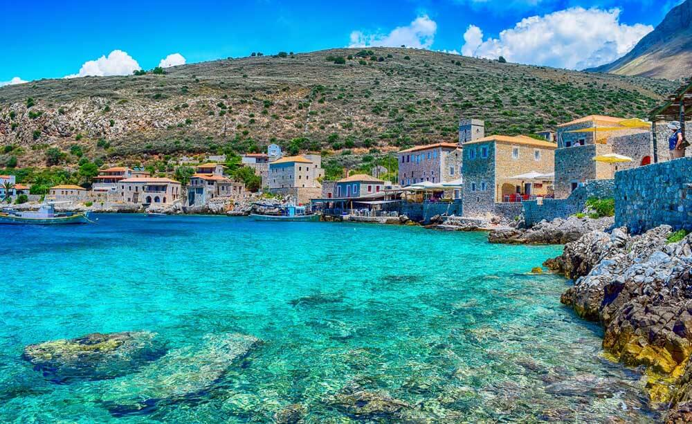 turquoise waters surrounding Limeni in the Peloponnese