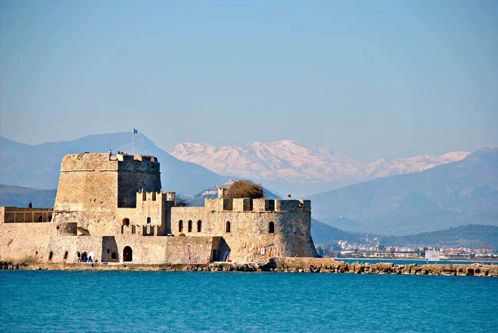 Nafplion with mountains in the background