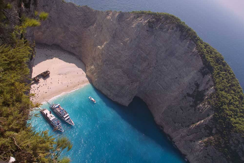 Shipwreck on beach in Greece