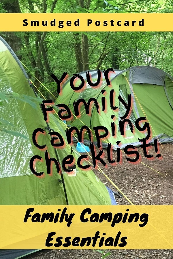 Family camping essentials checklist including camping tips