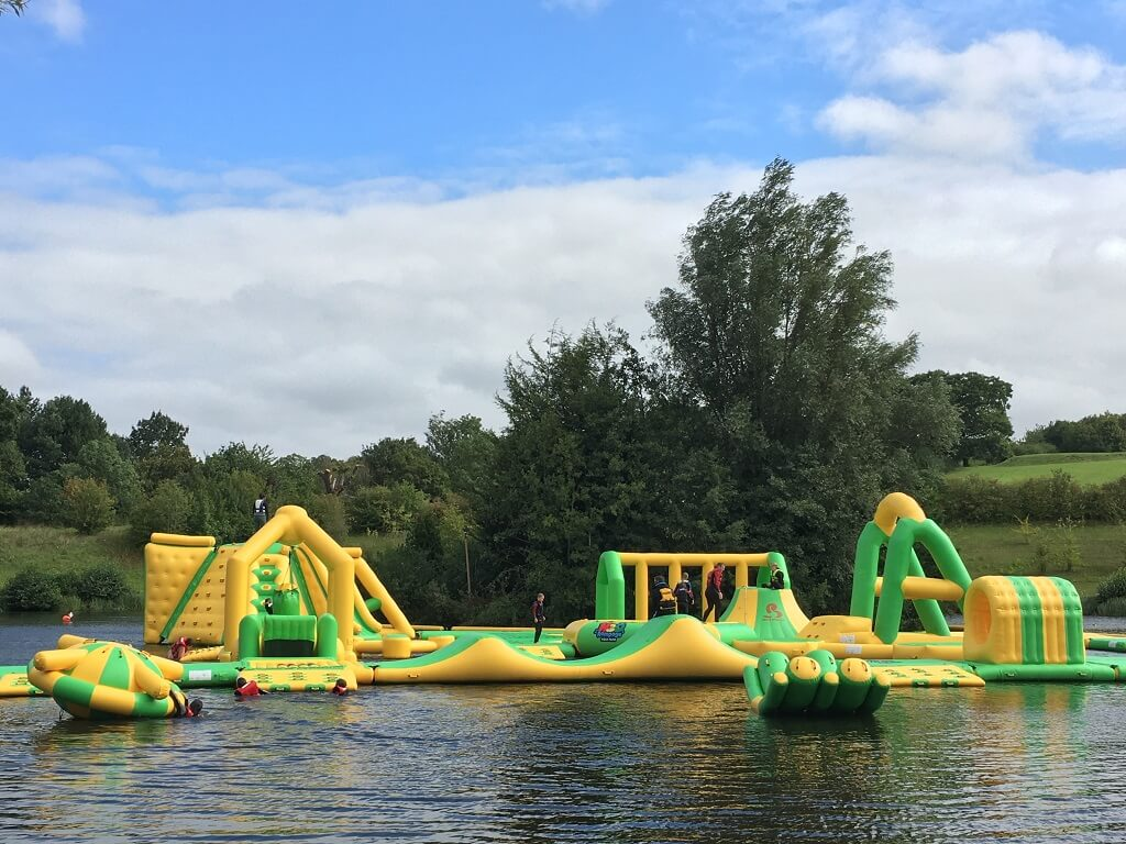 inflatables on lake in Ware Hertfordshire