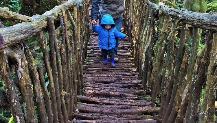 child walking over wooden bridge