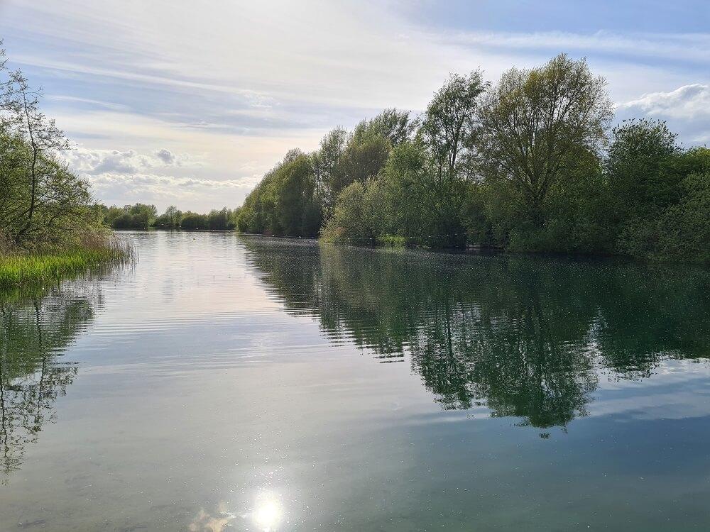 reflection on redricks lake in Herts
