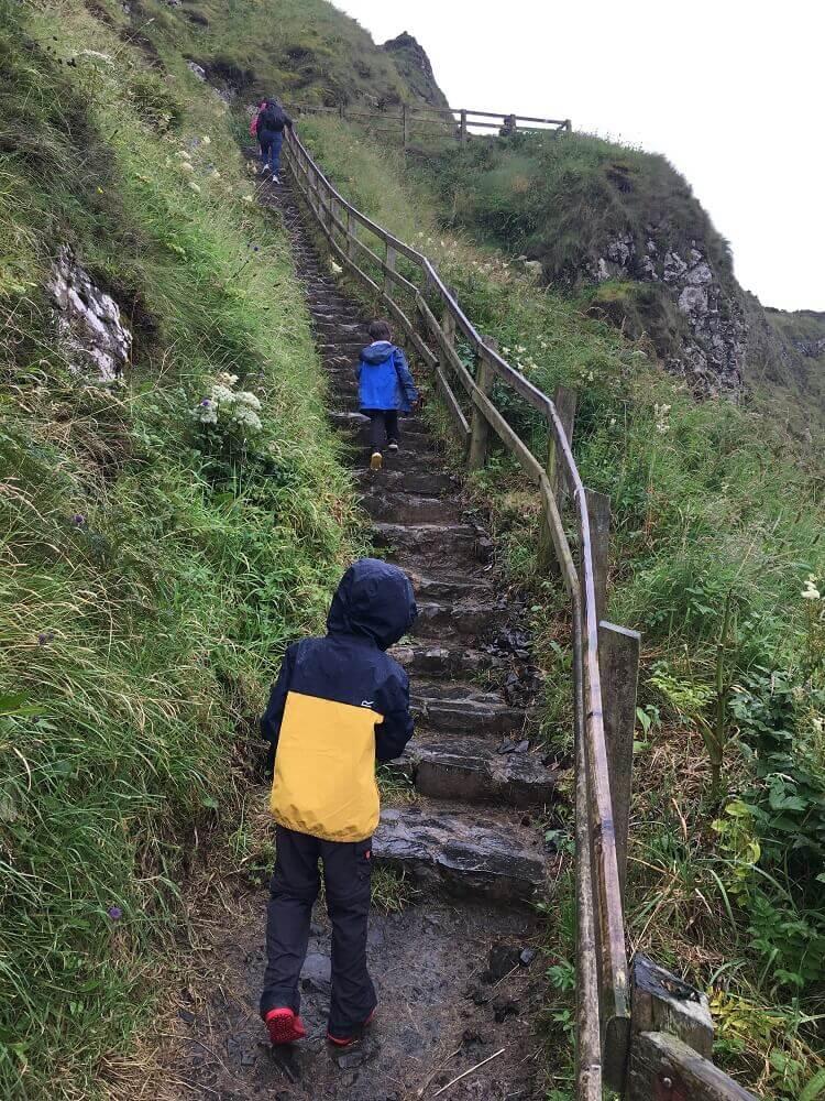 children walking up steps