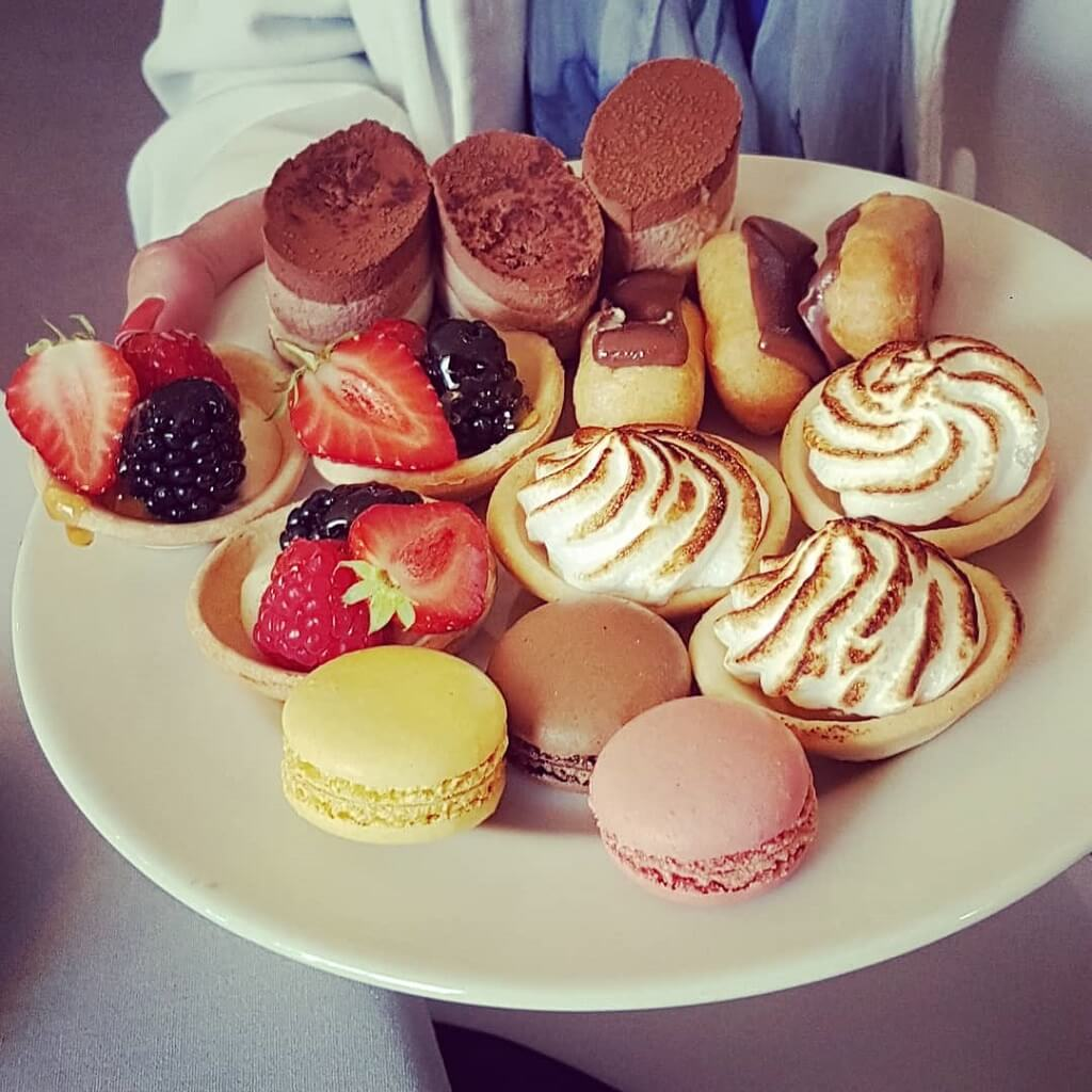 Plate of cakes and strawberries