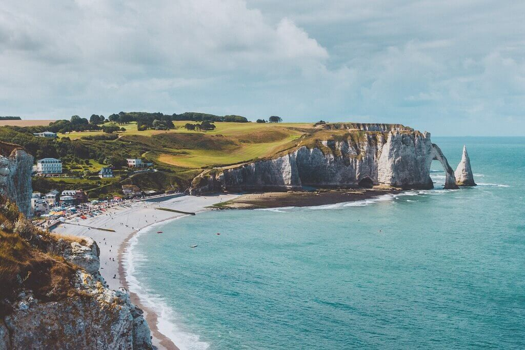 Beach and cliffs at Etratat Normandy