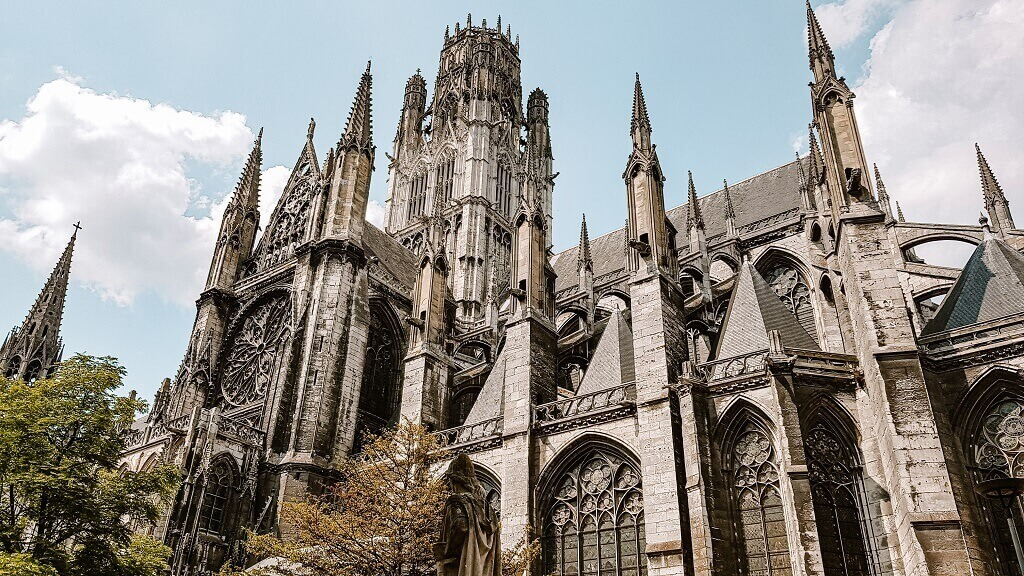 detail of cathedral in Rouen France
