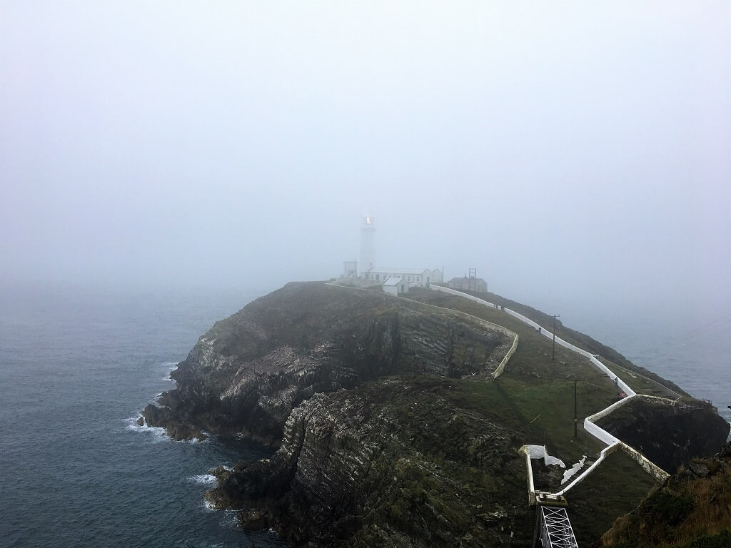 South Stack Lighthouse in mist, Anglesey Wales