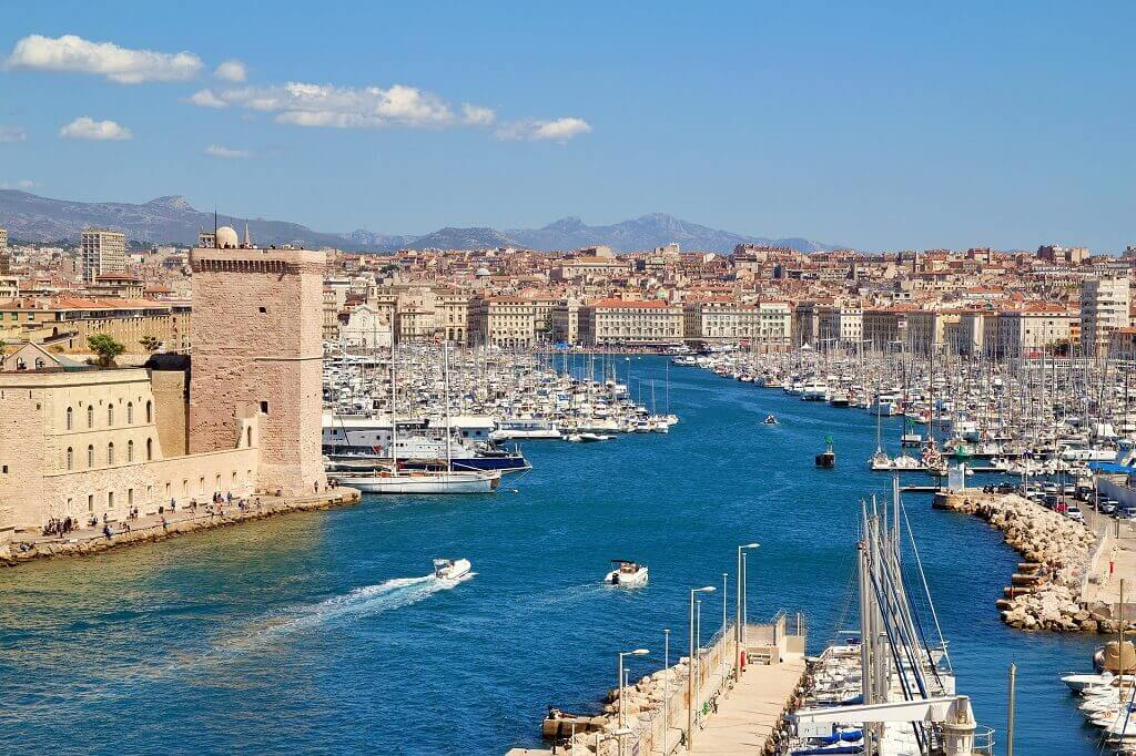 Marseille harbour in France